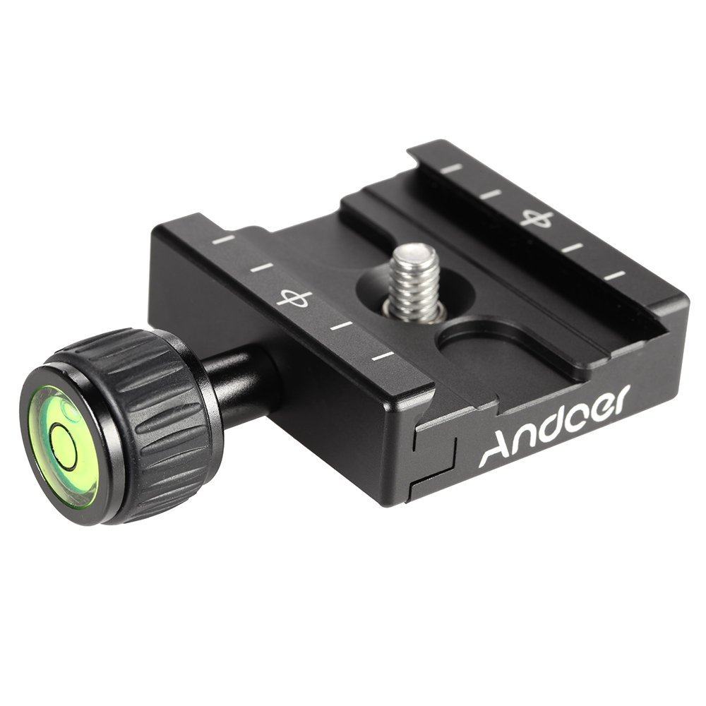 Andoer Aluminium Quick Release Plate QR Clamp with Gradienter Fits Arca Swiss RRS Wimberley for Tripod Ballhead by Andoer