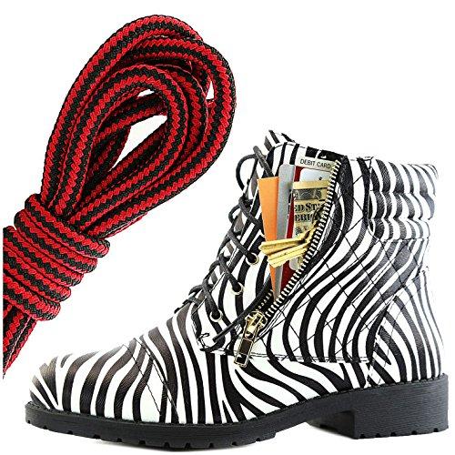 Dailyshoes Womens Militaire Lace Up Boucle Bottes De Combat Cheville Haute Carte De Crédit Exclusive Poche, Noir Rouge Zebra Pu
