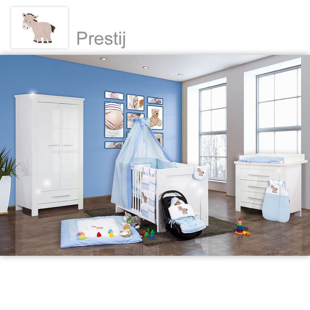 Babyzimmer Enni Hochglanz 21-tlg. mit 2 türigem Kl. + Textilien Prestij, Blau