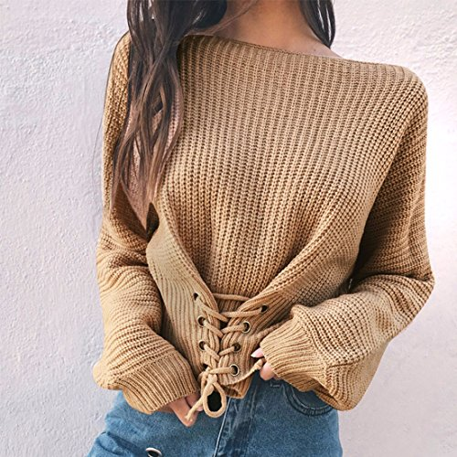 QIYUN.Z Las Mujeres De Moda De Encaje De Diseño Otoño Invierno Hecho Punto Jersey Suéteres Beige