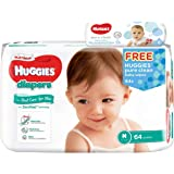 Huggies Platinum Diapers Medium 64ct + Pure Clean Wipes, 64 count