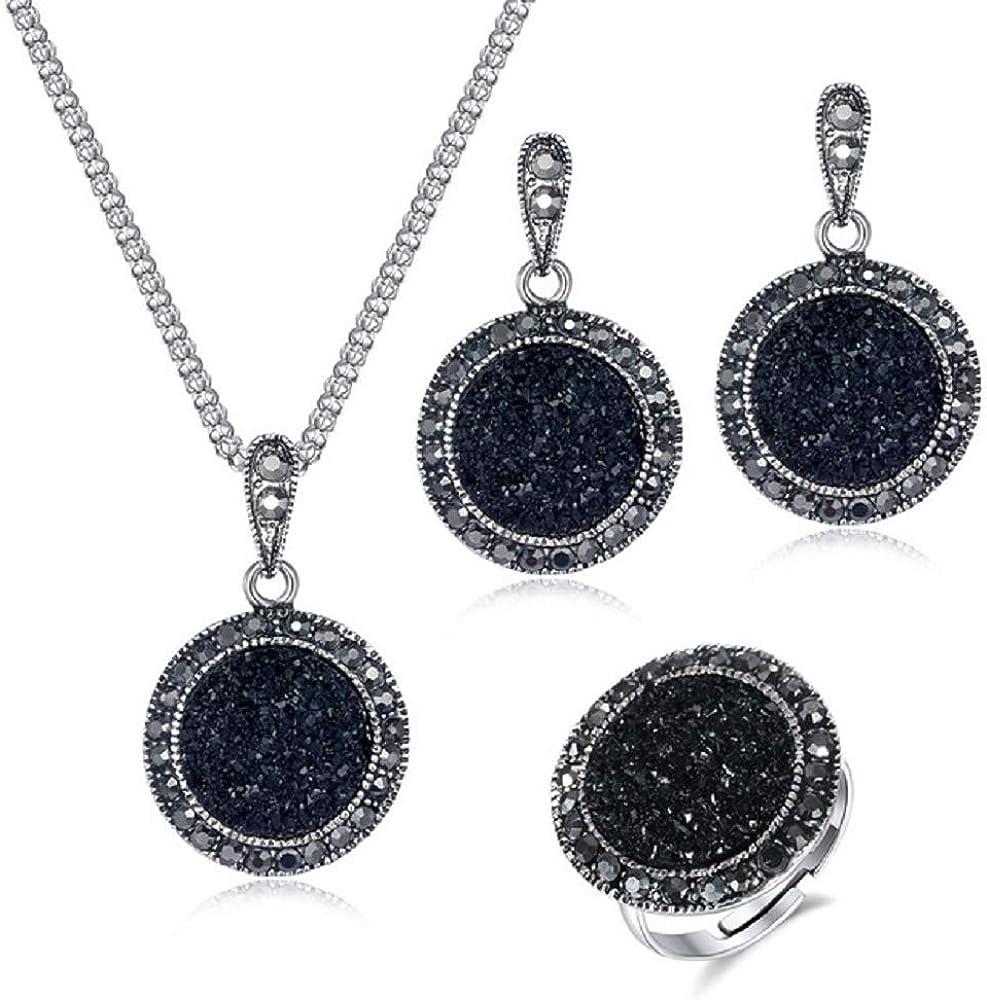 XJJJ Conjunto de Joyas Pendientes de Collar de Piedras Preciosas Negras Vintage Conjunto de Joyas de Anillo Moda Mujer Cristal de Plata Antiguo Regalo de Piedra Redonda