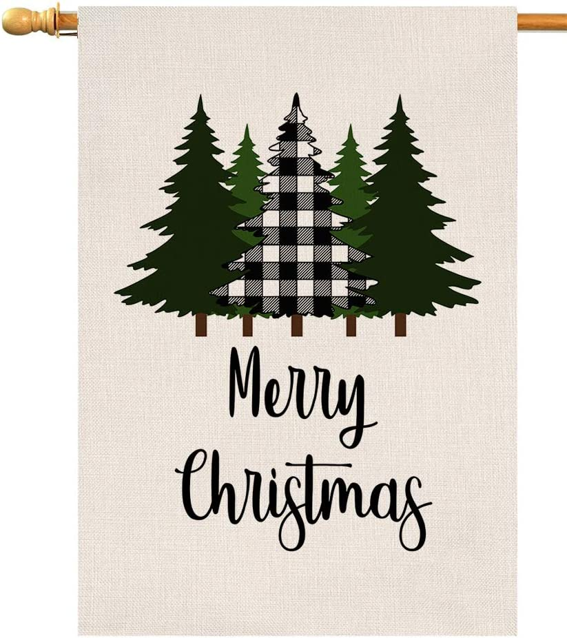 BLKWHT Red Black Buffalo Tree Small Garden Flag Vertical Double Sided Winter Burlap Yard Outdoor Decor 12.5 x 18 Inches 115301