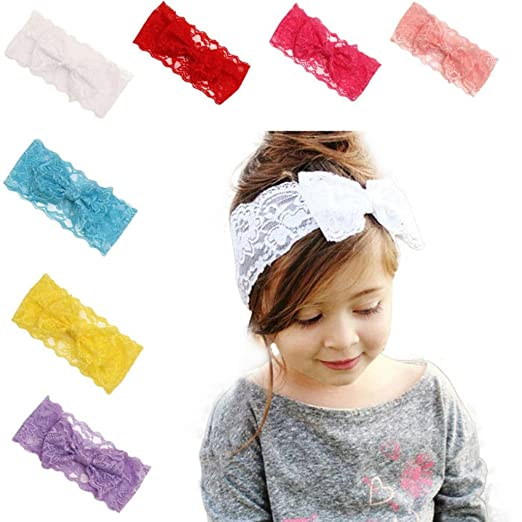 GBSELL Girls Lace Big Bow Hair Band Baby Head Wrap Band Accessories (Pink) 063307555e8