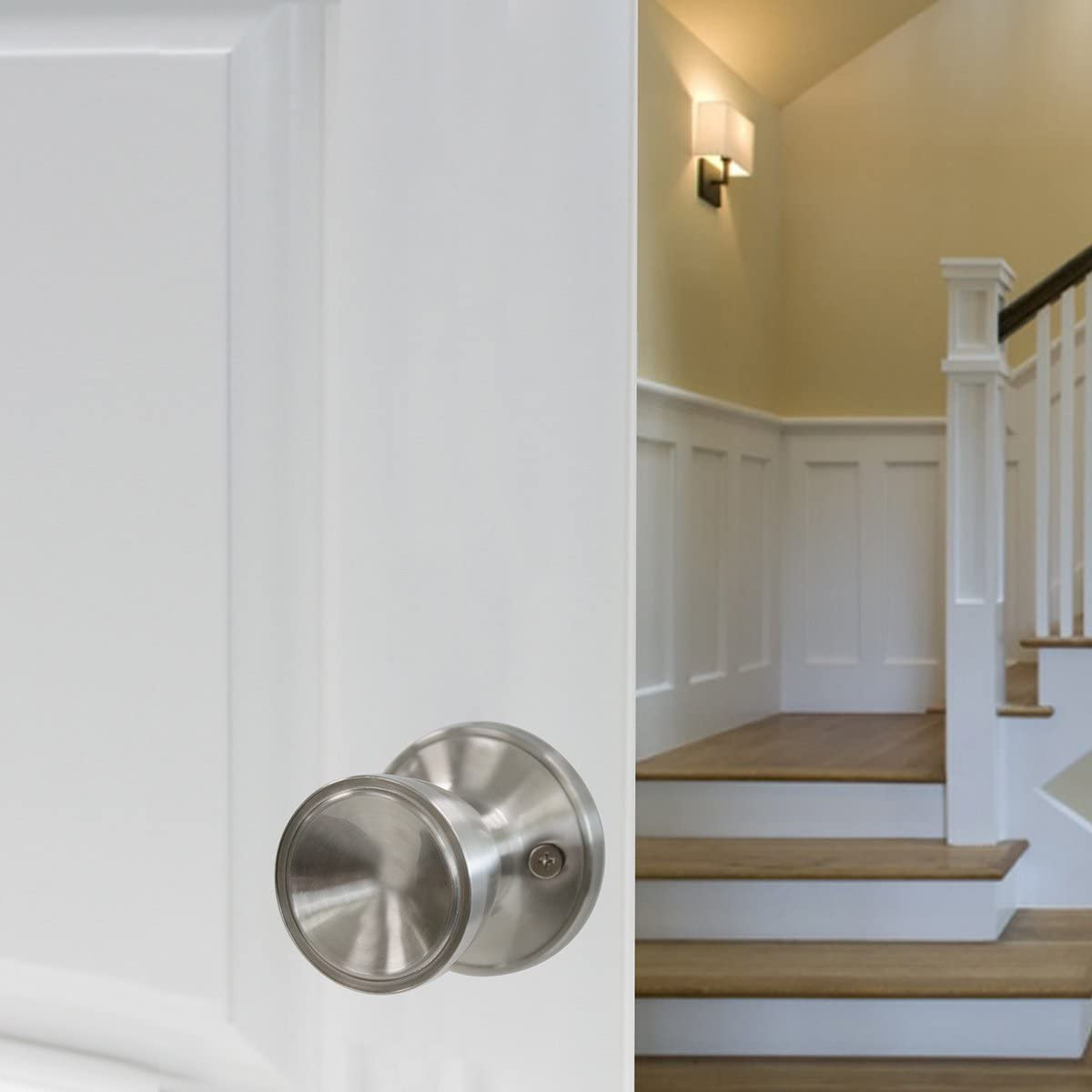 Probrico Half Dummy Door Handles Levers Single Side Non-Turning Door Handles Left Handing Pack of 2 for Closets with a Satin Nickel Finish