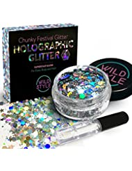 Cosmetic Glitter For Face, Body and Hair - Chunky Silver Holographic Glitter Mix - Versatile Festival Accessories, Rave Glitter and Beauty Makeup - Includes Long Lasting Fix Gel So You Can Shimmer Str