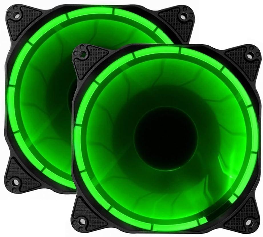 EZDIY-FAB 2-Pack PWM Solar Eclipse-Ultra silencioso 120mm DC llevó Ventilador para Cajas de Ordenador, CPU de Larga Vida Coolers-Green (800-1800RPM)