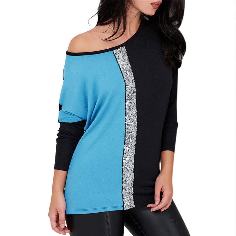NRUTUP Fashion Women Skew Collar Blings Sequins Patchwork Color Block Blouse T-Shirt Top Blouse(Sky Blue,2XL)
