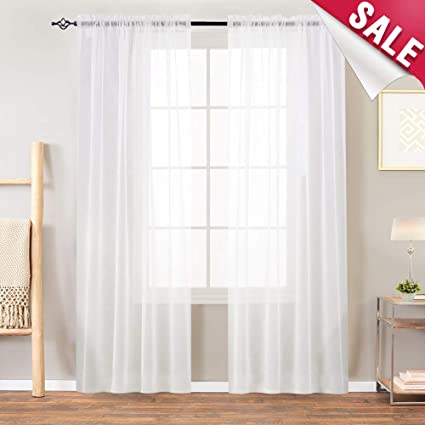 Sheer White Curtains Bedroom Window Sheer Curtains Semi Sheer Curtain  Panels Living Room 84 inches Long Window Treatment Set Sheer Voile  Curtains, Rod ...