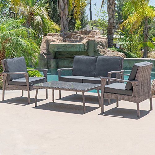 (Belleze 4PC Outdoor Patio Wicker Set Lounge Backyard Weather Resistant UV Thick Cushion Chair Glass Coffee Table, Gray)
