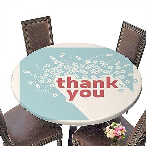 Amazon Com Decorative Round Tablecloth Thank You Card Design