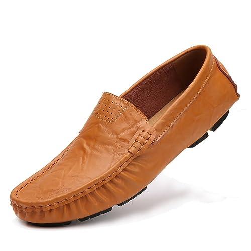 ailishabroy Hombres Conducción Zapatos con Ponerse Zapatos de Cuero Genuino Mocasines de Hombre: Amazon.es: Zapatos y complementos