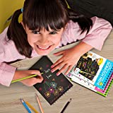 Rainbow Scratch Art Notebooks: Best Rainbow Magic Paper Craft for Everyone - Portable Doodle Activity Set with 4 Colorful Mini Notes and 4 Wooden Styluses