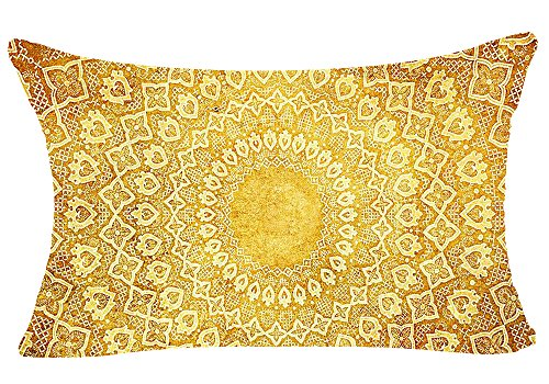 European Colorful Retro Floral Compass Medallion Bohemian Ethnic Style Moroccan Golden Yellow Cotton Linen Throw Lumbar Waist Pillow Case Cushion Cover Home Office Decorative Rectangle 12 X 20 Inches
