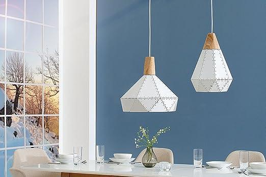 Moderne hängeleuchte scandinavia rivet ii weiß nieten massivholz