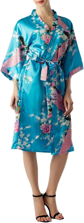 iB-iP Femme Paon et Fleur de Prunier Style Japonais Kimono Mi-Longue Peignoir//Robe de Chambre