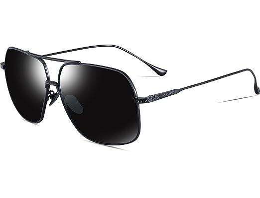 6b4b76230c9 ATTCL Men s HD Polarized Navigator Aviator Sunglasses for Men Driving  Fishing Golf T005 Black