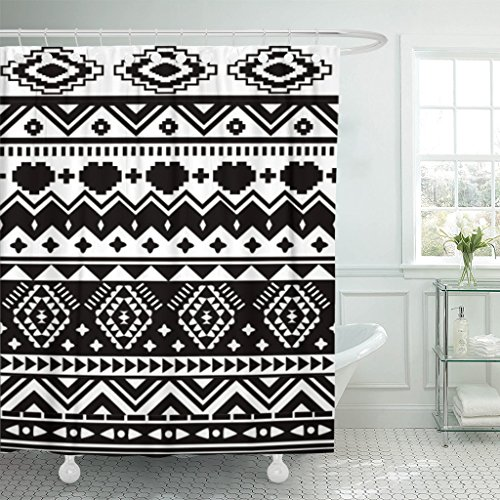 TOMPOP Shower Curtain Green Aztec Black and White Ethnic Pat