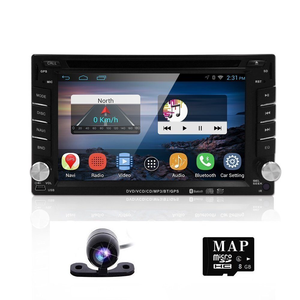 Para Nissan 6.2 inch Quad coche DVD Radio Bluetooth GPS e6202 a 2 DIN Android 4.4.4 Car Stereo Radio HD pantalla multitáctil Navegación GPS Reproductor de ...