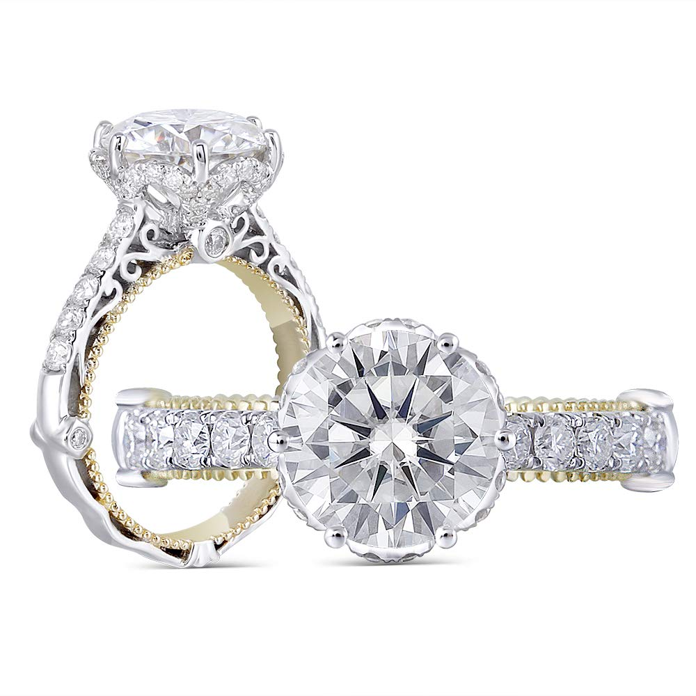 DovEggs Solid 14k White Gold Yellow Gold 1.5ct Center 7.5mm H-I Color Heart Arrows Cut Moissanite Engagement Ring Solitare with Accents Band Width 3.4mm (9) by DovEggs