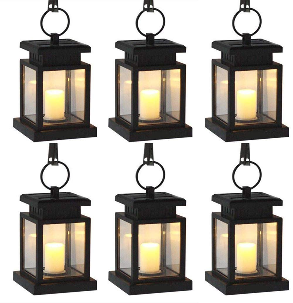 AMEI Solar Lantern, Solar LED Candle Light, Outdoor Hanging Solar Garden Light, Solar Powered Umbrella Lights with Clamp for Yard Patio Umbrella Garden Deck Lighting & Decoration Auto On/Off (6 Pack)