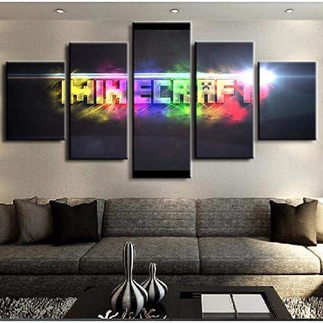 JIWAWAR 5 Panel Leinwand Gedruckt Spiel Poster Minecraft ...