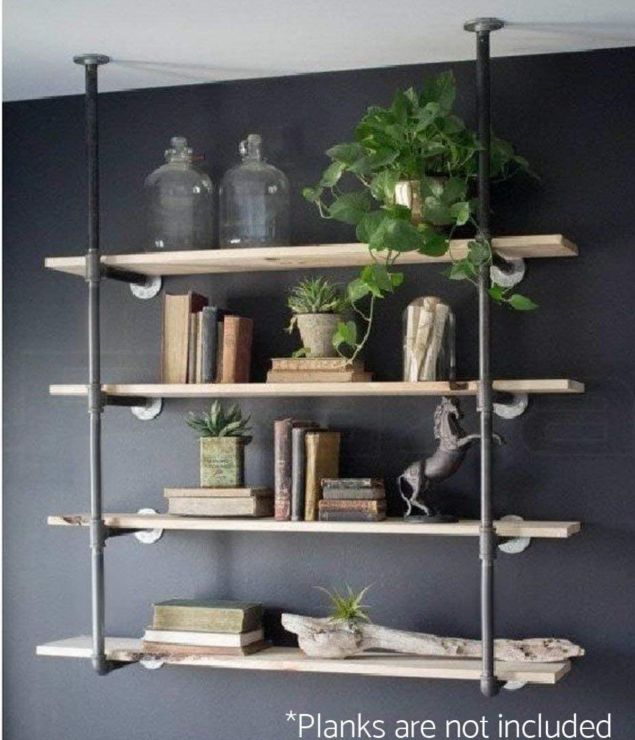 Industrial Retro Wall Mount Iron Pipe Shelf Hung Bracket Diy Storage Shelving Bookshelf (2 pcs): Kitchen & Dining