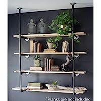 WGX Design For You Industrial Retro Wall Mount Iron Pipe Shelf Bracket DIY Storage Shelving Bookshelf