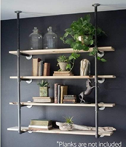 industrial retro wall mount iron pipe shelf hung bracket diy storage shelving bookshelf 2 pcs - Bookshelves Wall Mounted