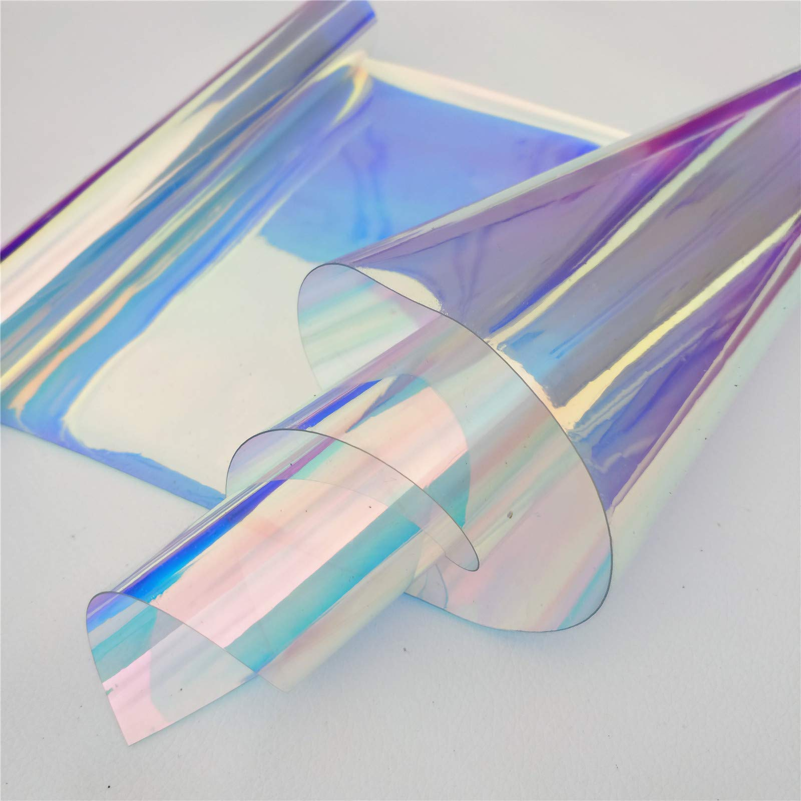 ZAIONE PVC Holographic Clear Film 5 Yards Width 37'' Roll Mirrored Foil Holographic Vinyl Graphic Fabric for Shoes Bag Sewing Patchwork DIY Bow Craft Applique (Blue)
