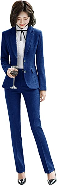 Lilis Women's 2 Piece Blazer Office Lady Business Suit Set Slim Fit Jacket Pant