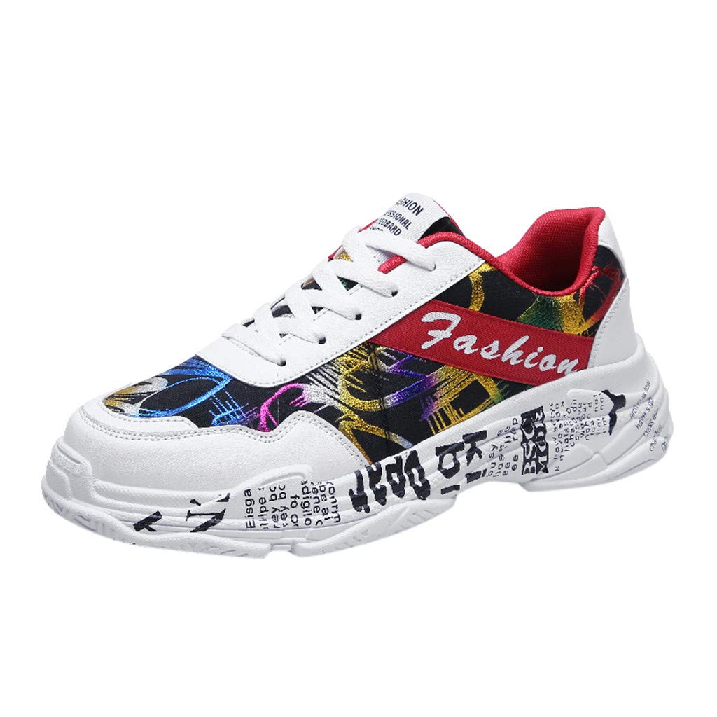 OutTop(TM) Men's Sports Shoes Casual Wild Graffiti Athletic Running Shoes Lightweight Breathable Low-Top Sneakers (US:8, Red)
