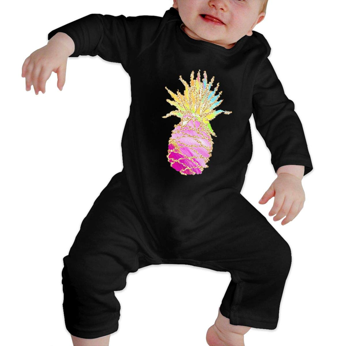Colorful Pineapple Unisex Long Sleeve Baby Gown Baby Bodysuit Unionsuit Footed Pajamas Romper Jumpsuit