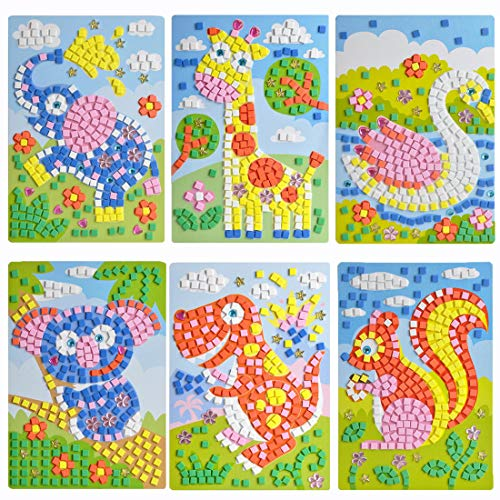 CCINEE Mosaic Sticker Art Puzzle Sticky DIY Handmade Painting for Kids Educational Toys - 6 PCS