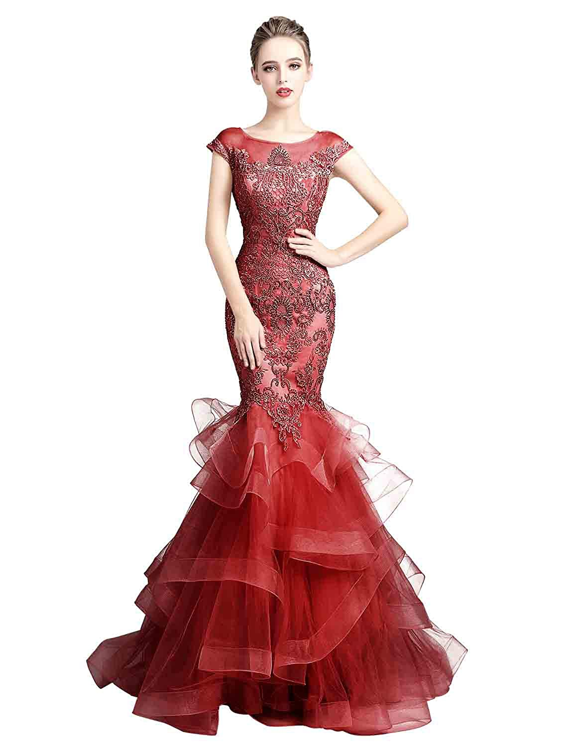 5135burgundy Sarahbridal Women's Tulle HiLow Beading Prom Dresses Evening Homecoming Cocktail Gowns