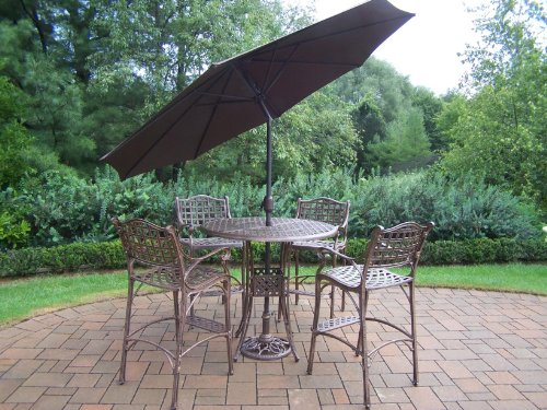 Oakland Living Elite Cast Aluminum 5-Piece Bar Set with 42-Feet Table and 9-Feet Brown Tilting Umbrella and Stand