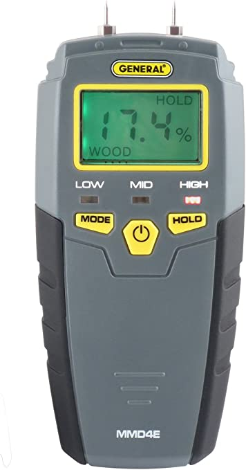 General Tools MMD4E Digital Moisture Meter, Water Leak Detector, Moisture Tester, Pin Type, Backlit LCD Display With Audible and Visual High-Medium-Low Moisture Content Alerts, Grays - - Amazon.com