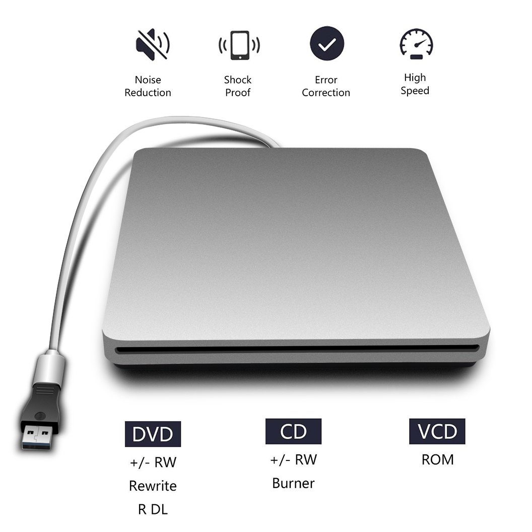 Cisasily External USB-C Superdrive External DVD/CD Reader and DVD/CD Burner for Latest Mac Pro/MacBook Pro/ASUS /ASUS/DELL Latitude with USB-C Port Plug and Play (Silver)