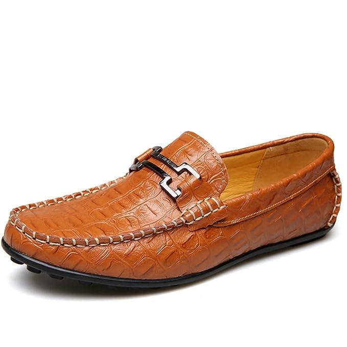 GOLDGOD Zapatos Planos De Hombre Mocasines Mocasines Zapatos De Cuero Ocasionales Ligeros Antideslizantes Antideslizantes De Goma,Brown,44: Amazon.es: Ropa ...