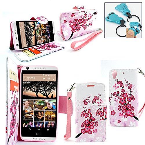 Customerfirst - HTC Desire 626 (D626x) Case, Dual-use Flip Pu Leather Fold Wallet Pouch Case Premium Pu Leather Wallet Flip Case for HTC 626 - Includes Key Chain (Japanese Flowers)