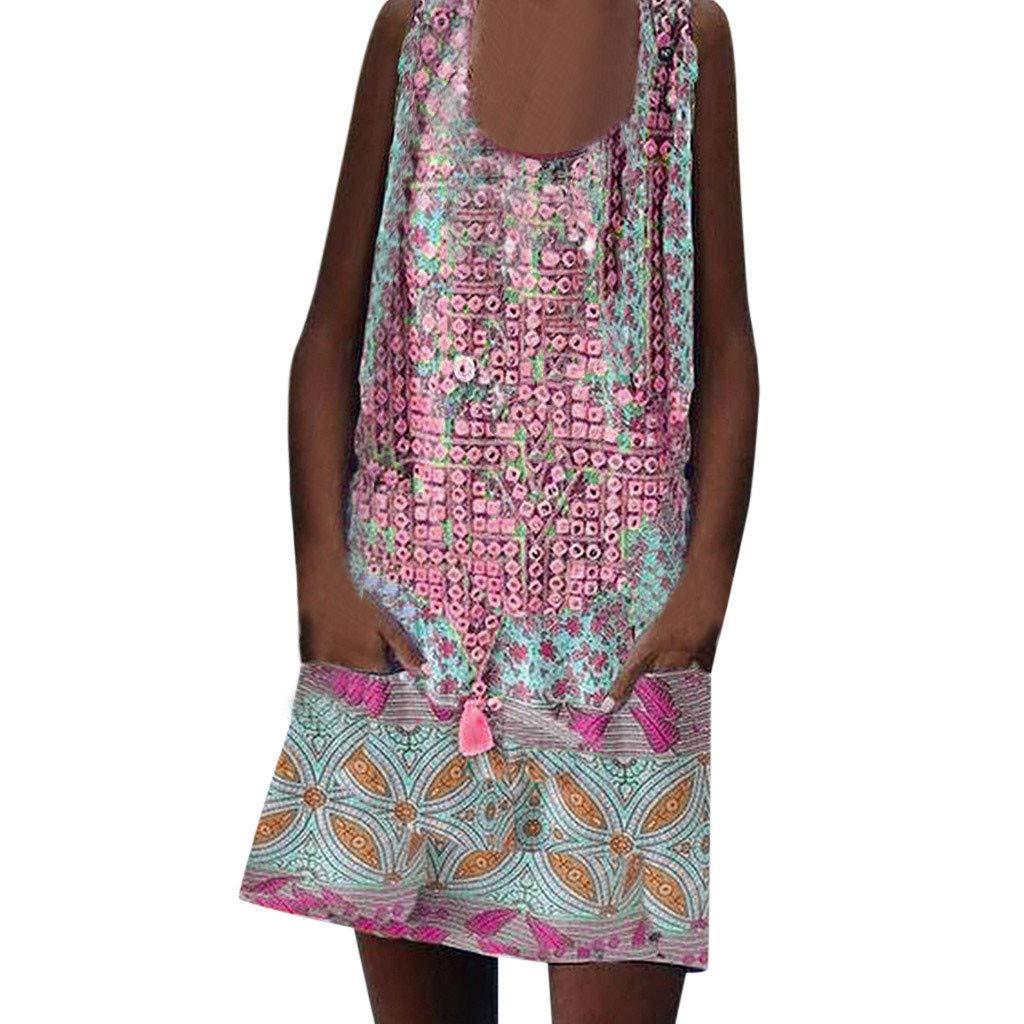 Women Print Bat Short Sleeve Low Cut Beachwear Casual Loose Mini Boho Dress by Snowfoller-Dress