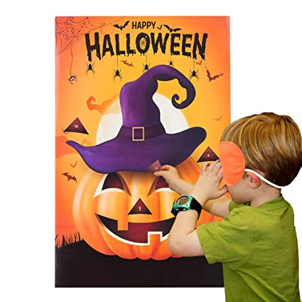 miss fantasy halloween party games pin the nose on the pumpkin game for kids halloween costume