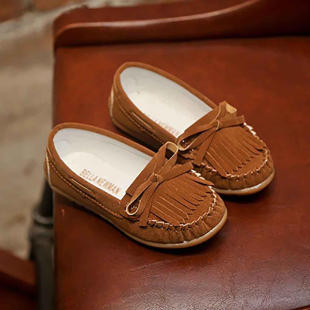 LANXI Girls Tassel Bowknot Loafers Casual Flat Girls Dress Shoes Kids