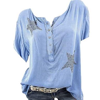 3f63884b8be1a6 Bluse Damen Herbst Shirt Knopf Fünfzackigen Stern Hot Drill Tops Oberteil  Langarm 3/4 Ärmel