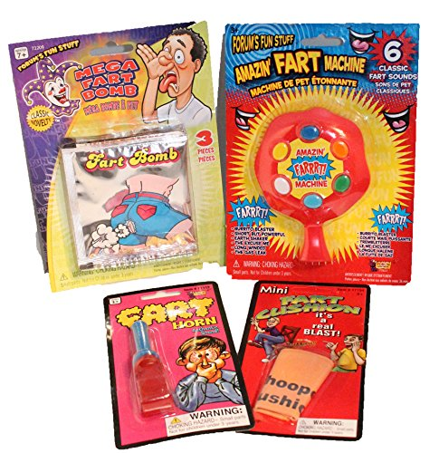 4 pc All Fart Jokes Gifts Set – Pranks and Practical Jokes For Kids – 7 Pc Practical Joke Kit Gift Set for Kids