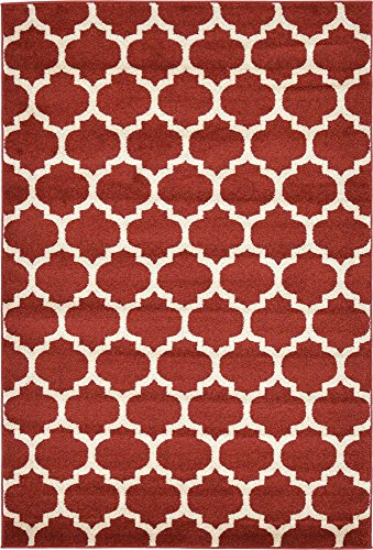 Unique Loom Trellis Collection Moroccan Lattice Red Area Rug (4' 0 x 6' 0) (Red Dark Rugs)