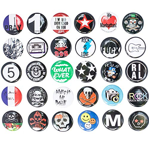 Huge Wholesale Set of 30Pc Cool Buttons Pins Badges 80