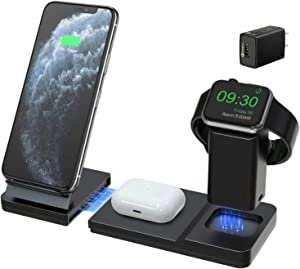 Hoidokly Wireless Charger 7.5W Qi Fast 3 in 1 Charging Station Dock for Apple Watch AirPods Pro/2, Detachable and Magnetic Charging Stand for iPhone 11 Pro Max/SE 2020/XR/XS/X/8 Plus(with Adapter)