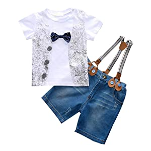 HANYI Kids Toddler Boys Handsome Clothes Outfits 3 Pcs (6T, White)