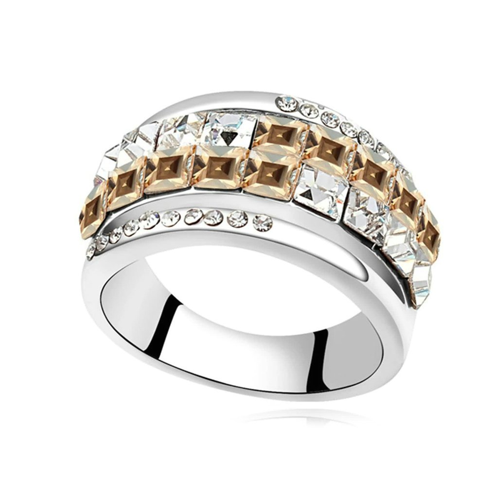 Daesar Womens Engagement Rings Gold Plated Princess Cut Cubic Zirconia Wedding Bands